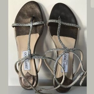 Jimmy Choo Silver Metallic Sandals 8.5